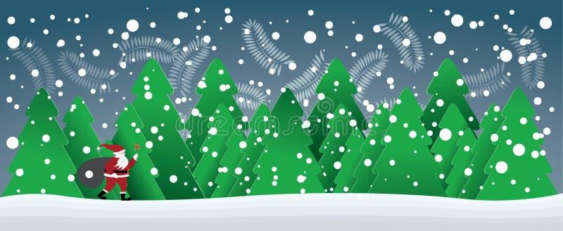 Carte de Noël avec le père noël dans la forêt illustration stock
