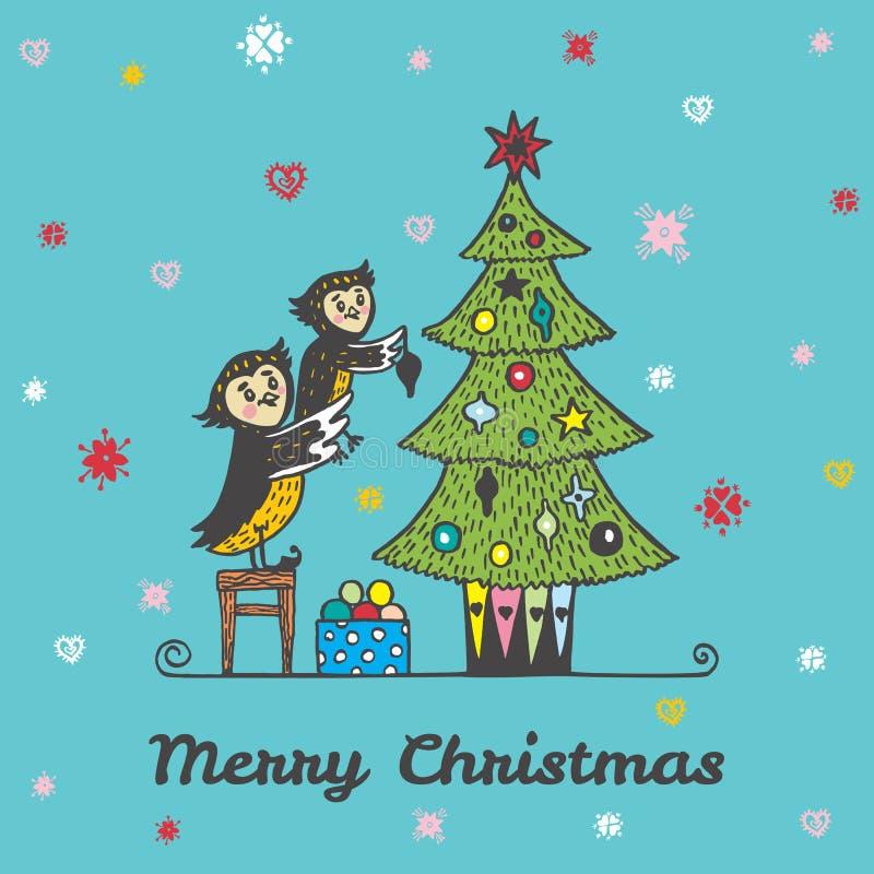 Carte de Noël avec le parent tiré par la main et l'enfant de hibou décorant un arbre de Noël illustration libre de droits