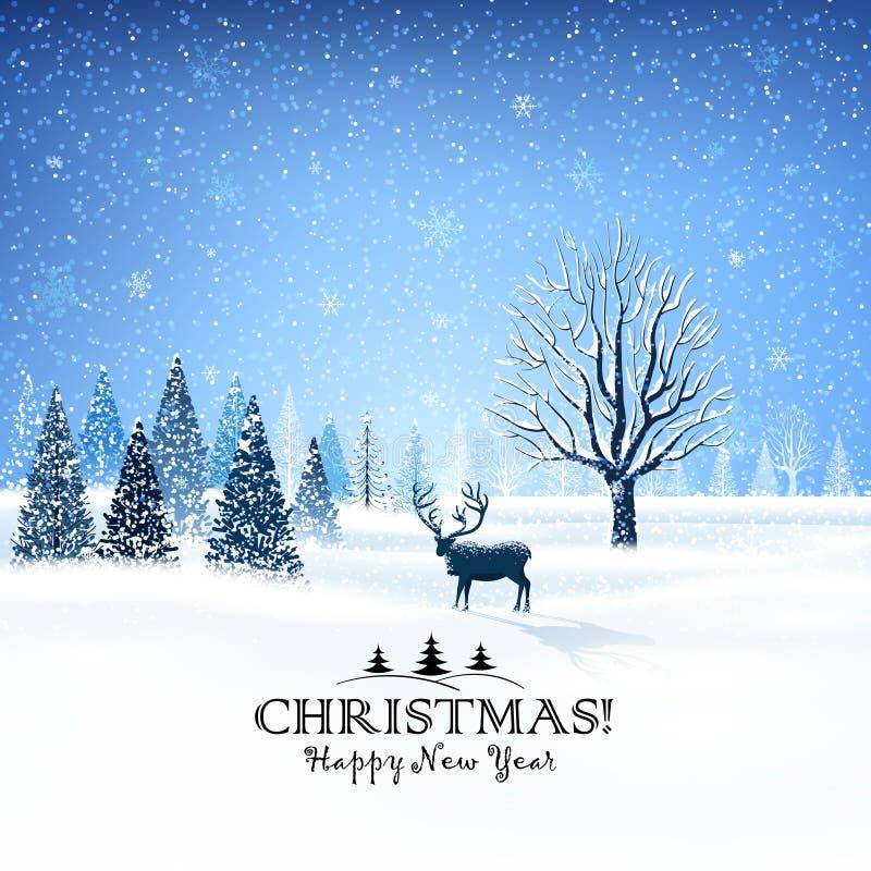 Carte de Noël avec le renne illustration libre de droits