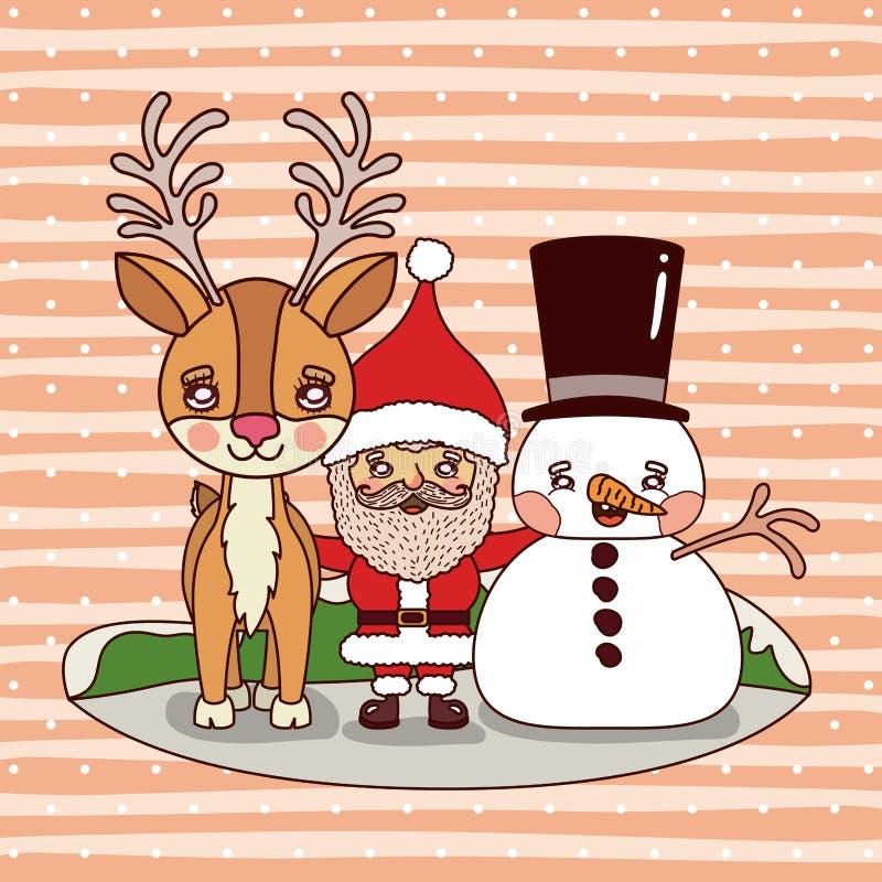 Carte de Noël avec le renne le père noël et le bonhomme de neige sur la chute colorée de montagnes et de neige de fond de paysage illustration stock