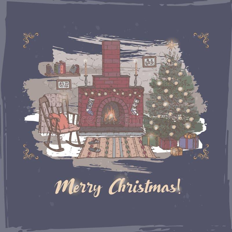 Carte de Noël avec le salon de couleur et cheminée sur le bleu illustration libre de droits