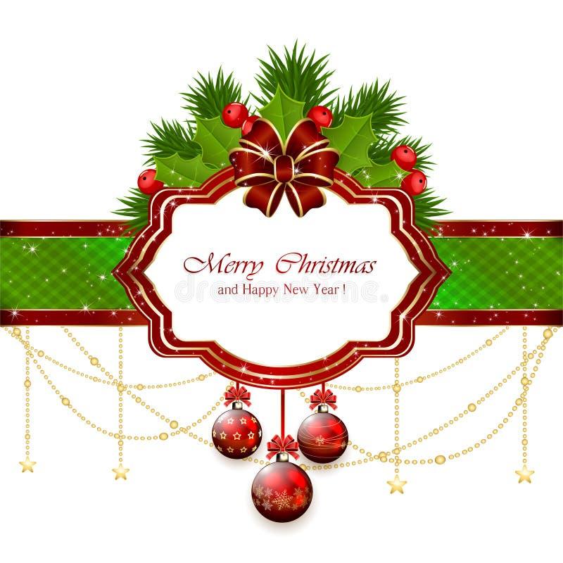 Carte de Noël avec les éléments décoratifs illustration de vecteur