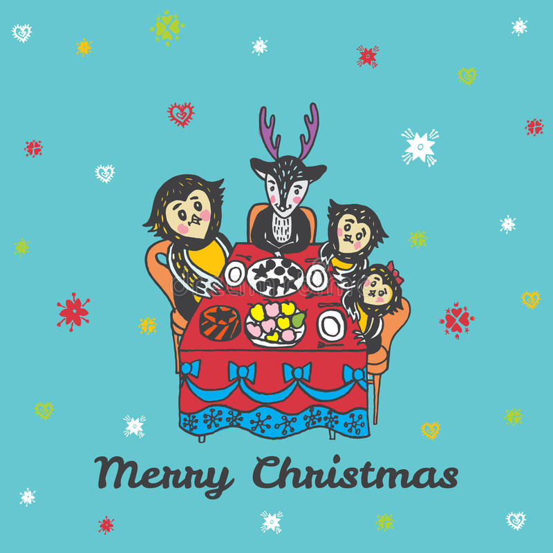 Carte de Noël avec les animaux tirés par la main à la table de fête illustration de vecteur
