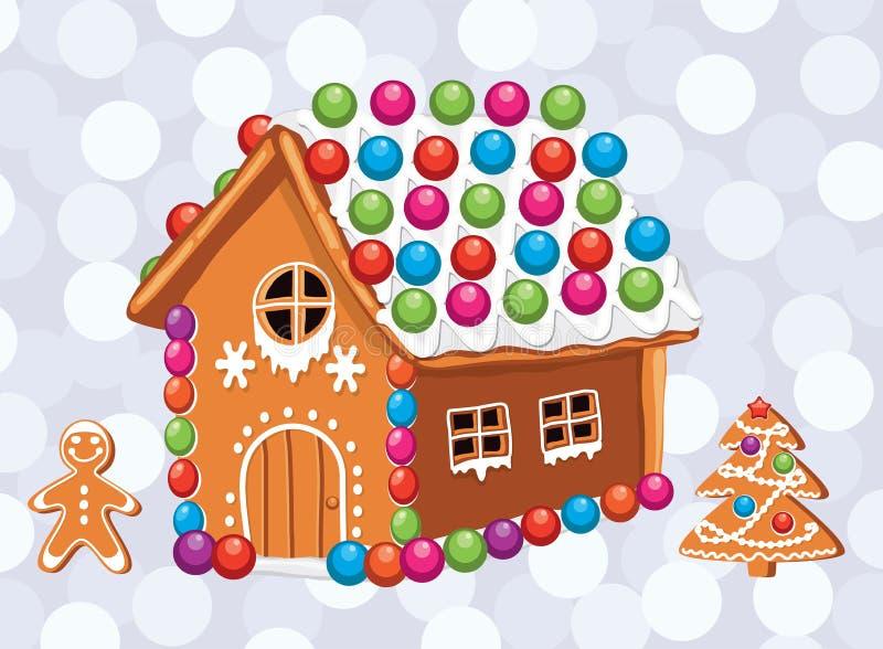 carte de Noël avec les biscuits colorés de pain d'épice illustration stock