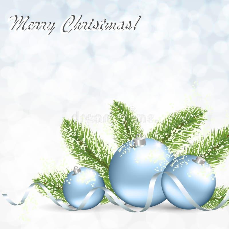 Carte de Noël avec les boules argentées, une branche d'un arbre de Noël et serpentine illustration de vecteur
