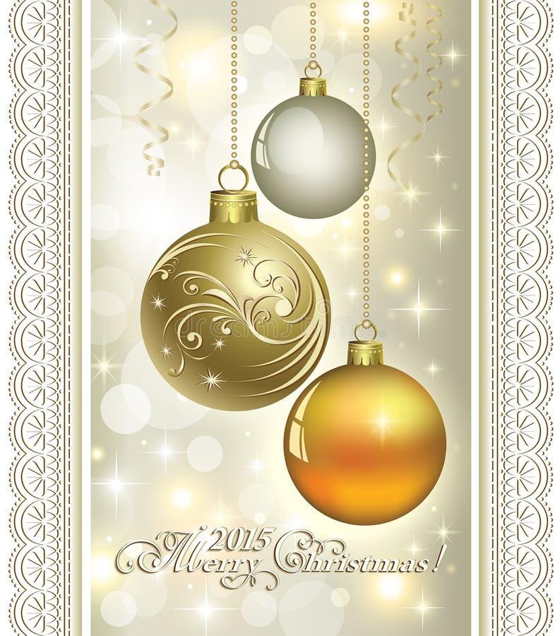 Download Carte De Noël Avec Les Boules 2015 De Noël Illustration de Vecteur - Illustration du décorations, brillant: 45355017