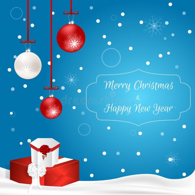 Carte de Noël avec les boules et les boîte-cadeau accrochants sur un fond bleu avec le mensonge de neige Approprié aux invitation illustration de vecteur