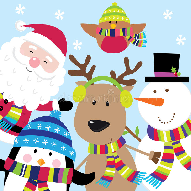 Carte de Noël avec les caractères mignons Santa et les amis illustration libre de droits