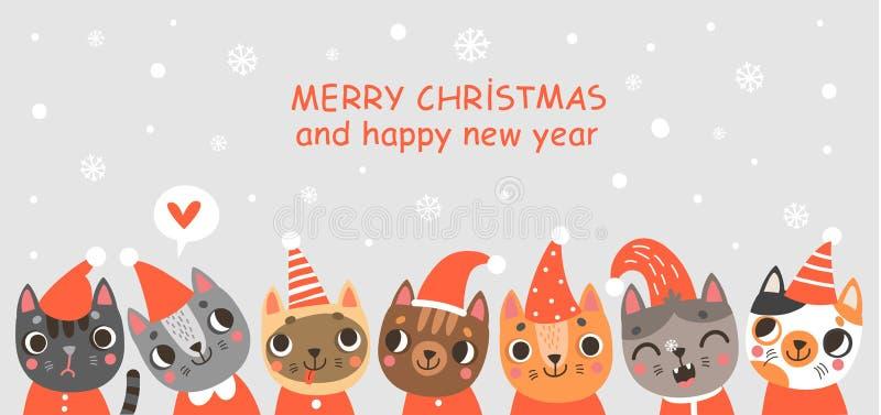 Carte de Noël avec les chats mignons Affiche du ` s de nouvelle année illustration libre de droits