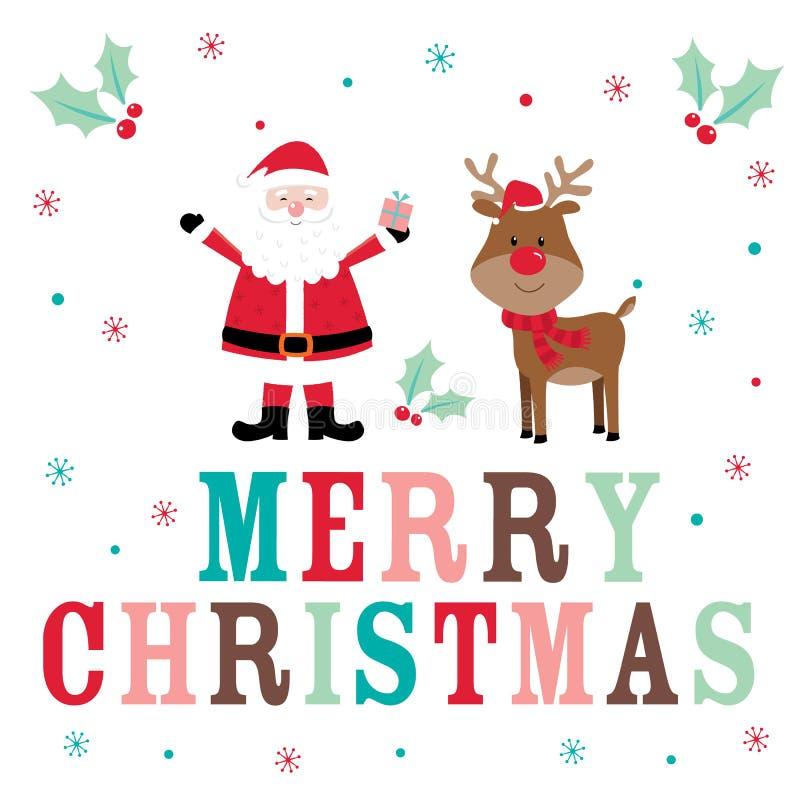 Carte de Noël avec Santa et renne mignons image libre de droits