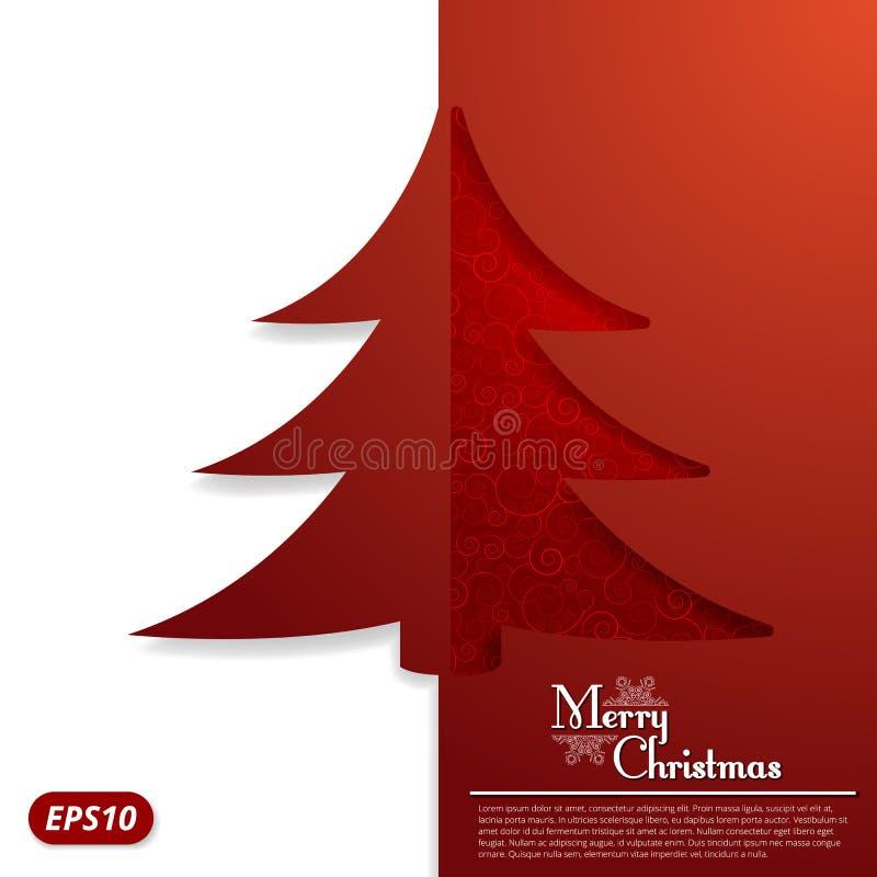 Carte de Noël avec un arbre de Noël découpé illustration de vecteur