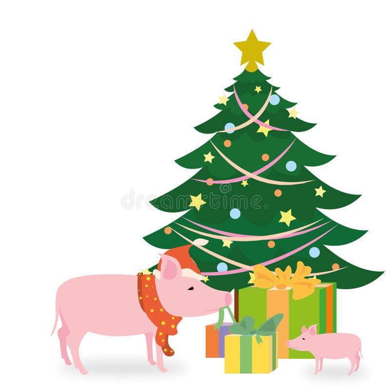 Carte de Noël avec un arbre et un mère-porc de fête qui ouvre le poadrki pour votre enfant illustration stock