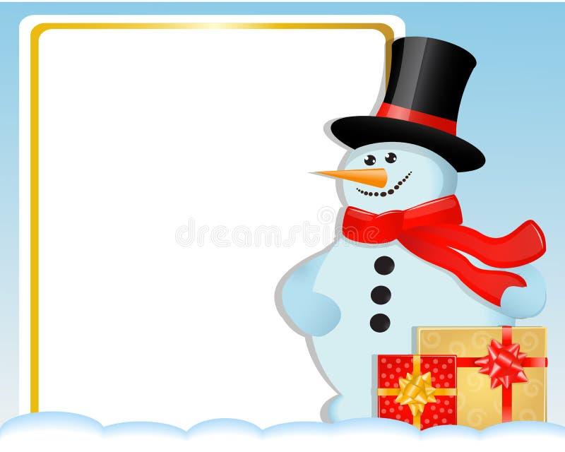 Carte de Noël avec un bonhomme de neige et des cadeaux illustration de vecteur