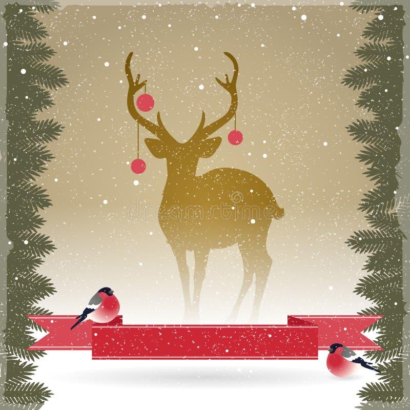 Carte de Noël avec un cerf commun illustration de vecteur