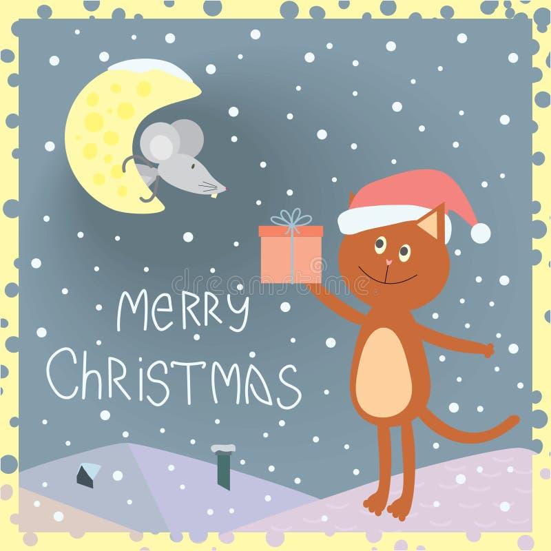 Carte de Noël avec un chat sur le toit et une souris sur la lune illustration libre de droits