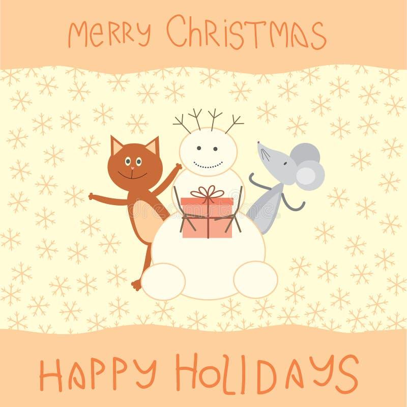 Carte de Noël avec un chat, une souris et un bonhomme de neige illustration stock