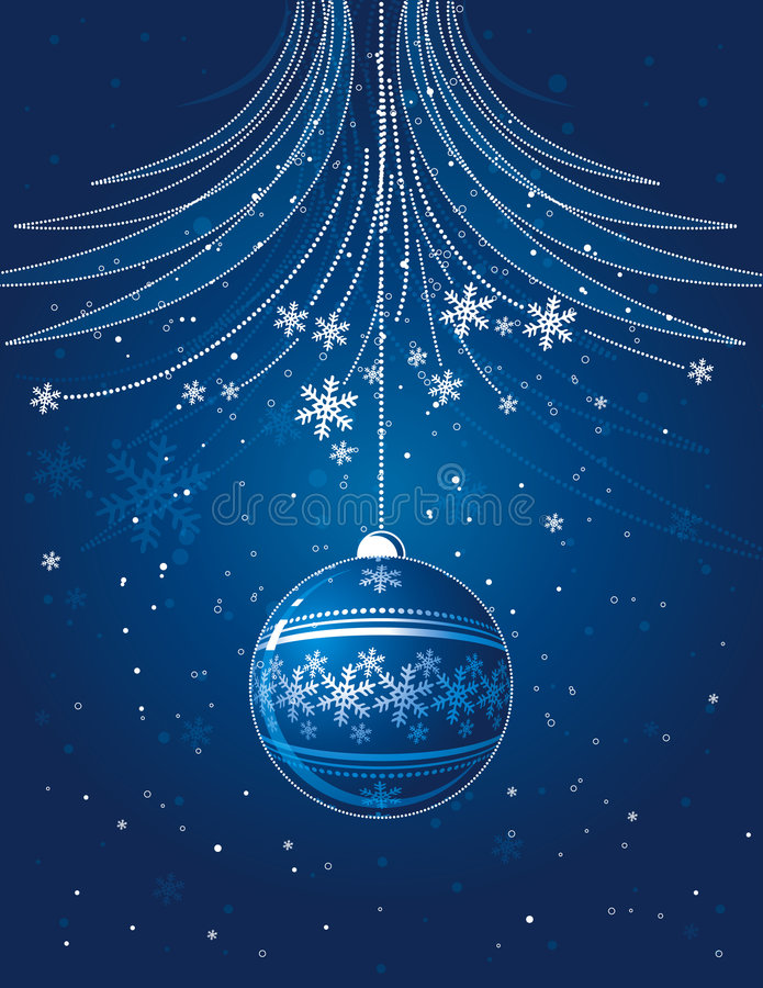 Carte de Noël bleue avec la bille illustration stock