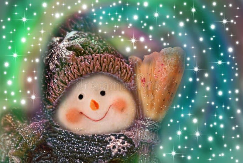 Carte de Noël, bonhomme de neige drôle photos libres de droits