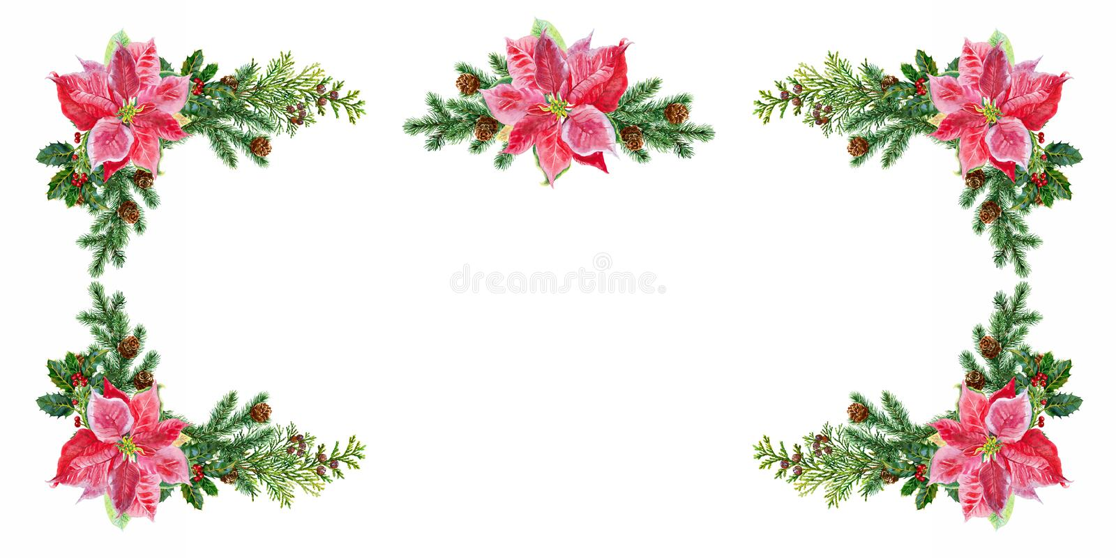Carte de Noël Décorations de Noël de sapin et de poinsettia watercolor illustration stock