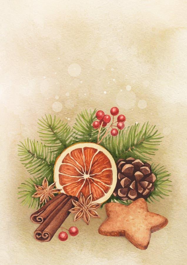 Carte de Noël d'aquarelle illustration de vecteur
