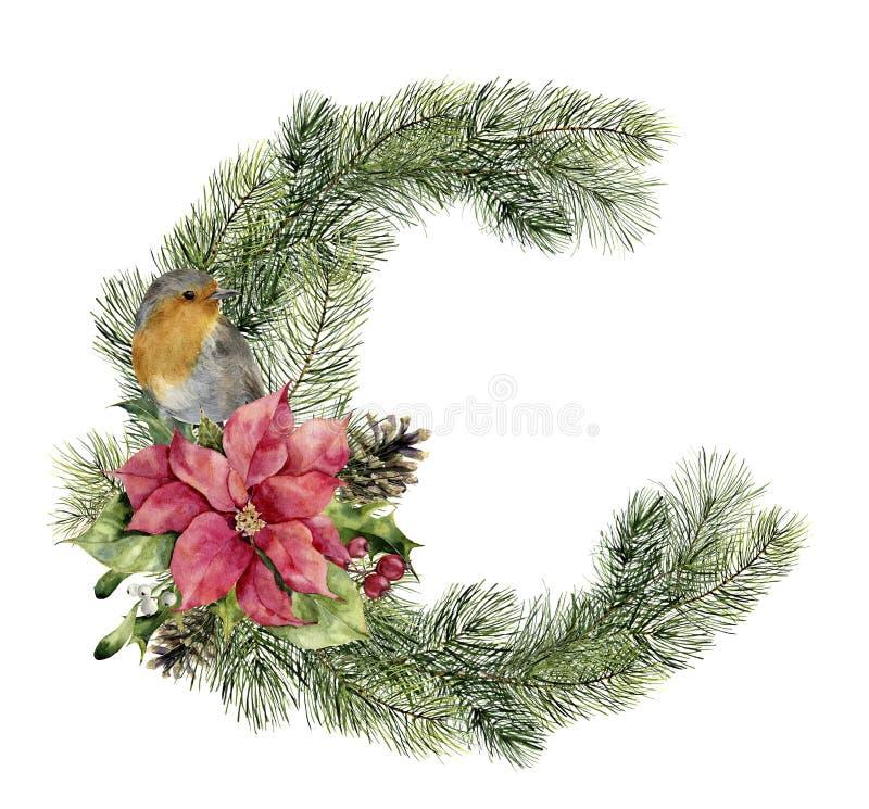 Carte de Noël d'aquarelle avec l'oiseau et le décor Floral peint à la main et le sapin s'embranche, des baies, poinsettia, houx illustration stock