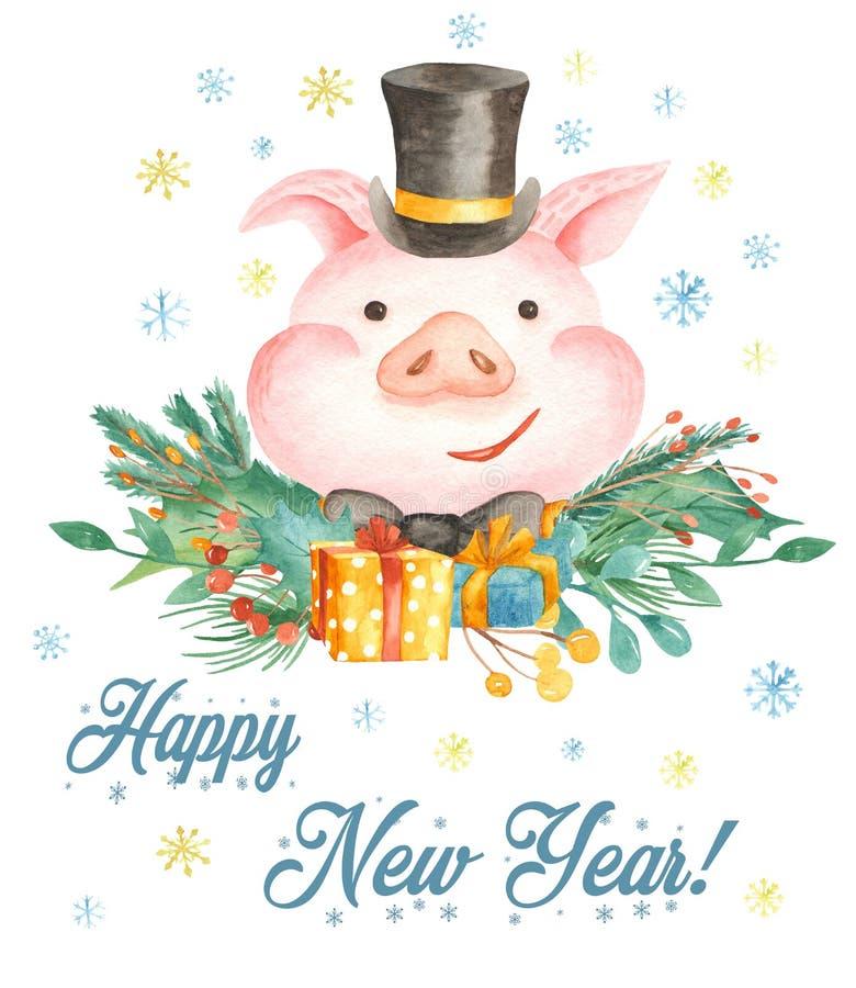 Carte de Noël d'aquarelle avec le porc mignon de bande dessinée Symbole de l'année 2019 illustration stock