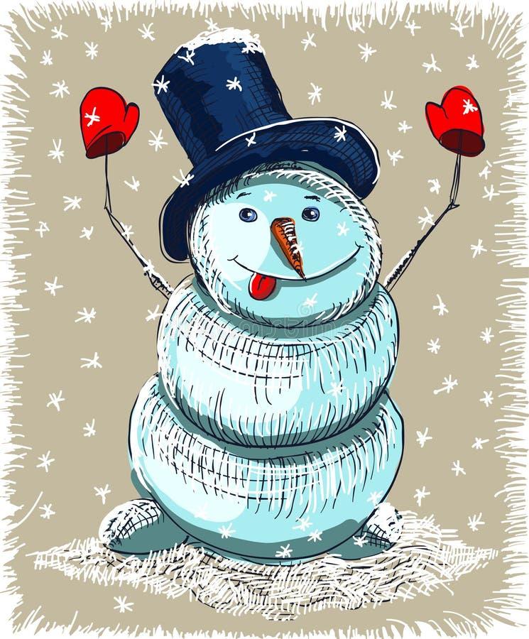 Carte de Noël de bonhomme de neige de dessin animé illustration de vecteur