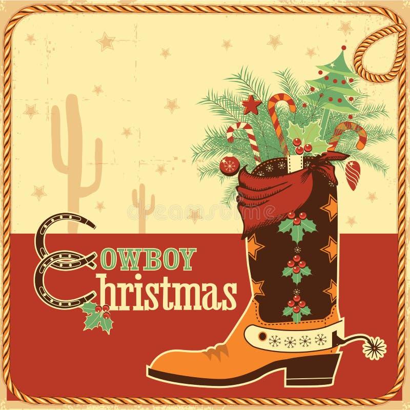 Carte de Noël de cowboy avec le texte et la botte illustration stock