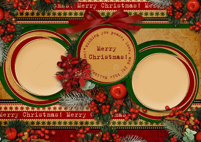 Carte de Noël de cru avec la trame de cercle illustration stock
