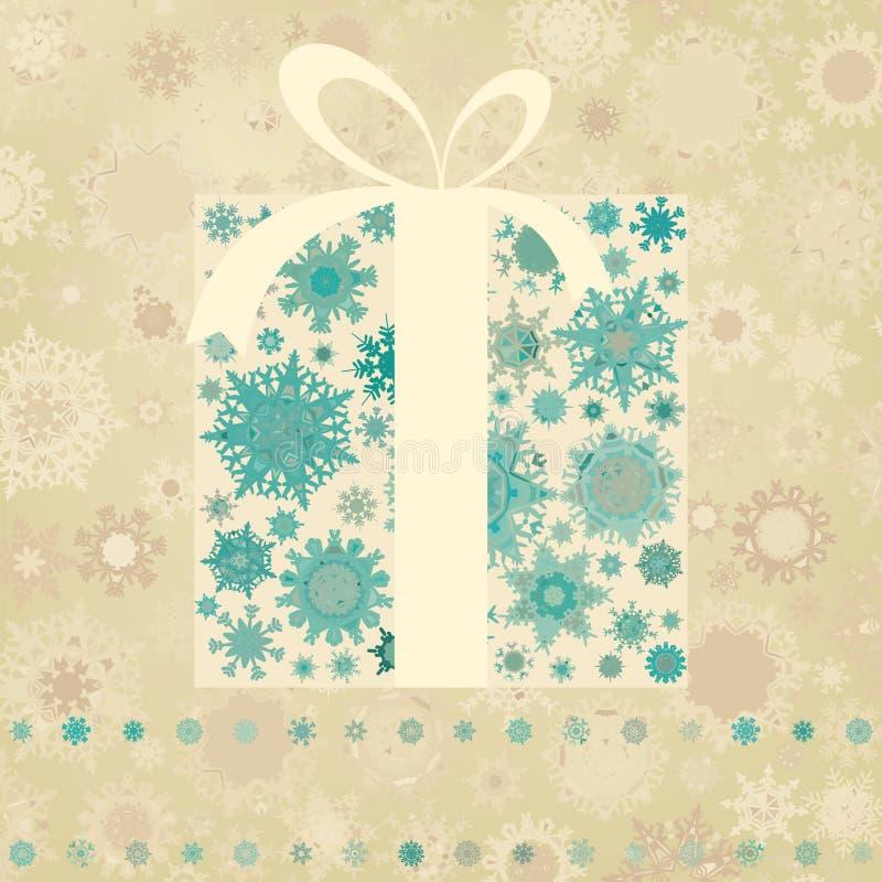 Carte de Noël de cru avec le cadre de cadeau. ENV 8 illustration libre de droits