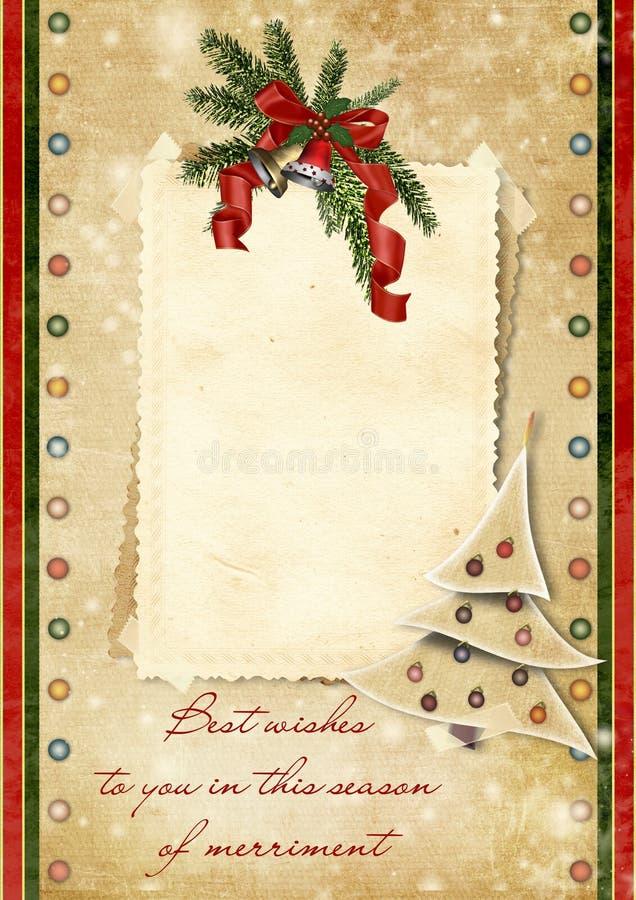 Carte de Noël de cru avec les souhaits illustration libre de droits