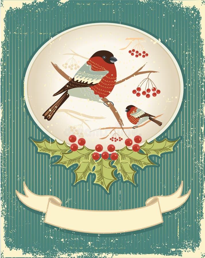 . Carte de Noël de cru pour le texte illustration de vecteur