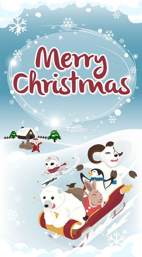 Carte de Noël de salutation de version d'hiver longue photographie stock libre de droits