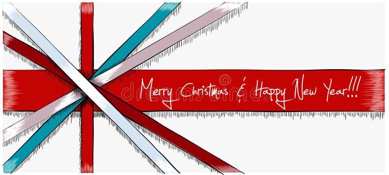 Carte de Noël de salutation dessinée dans le style de croquis photographie stock