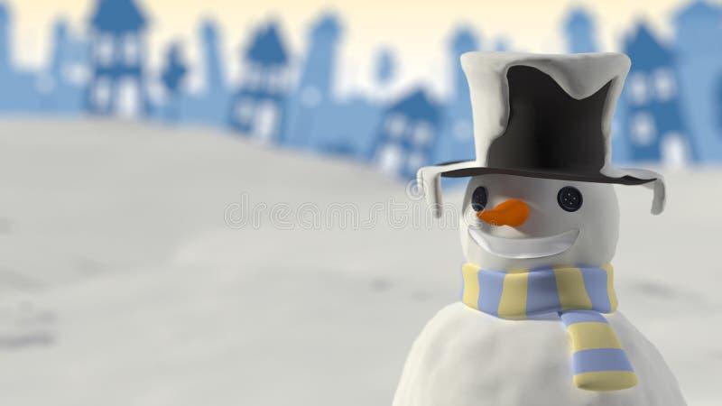 Carte de Noël de sourire de bonhomme de neige illustration de vecteur