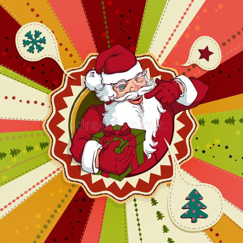 Carte de Noël de vecteur de vintage avec Santa Claus illustration libre de droits
