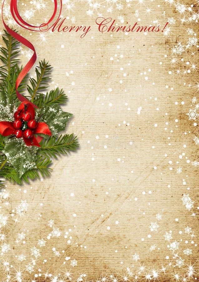Carte de Noël de vintage avec le houx illustration stock