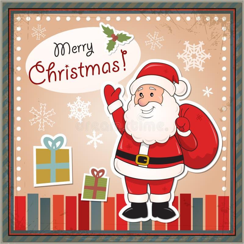 Carte de Noël de vintage avec Santa Claus illustration libre de droits