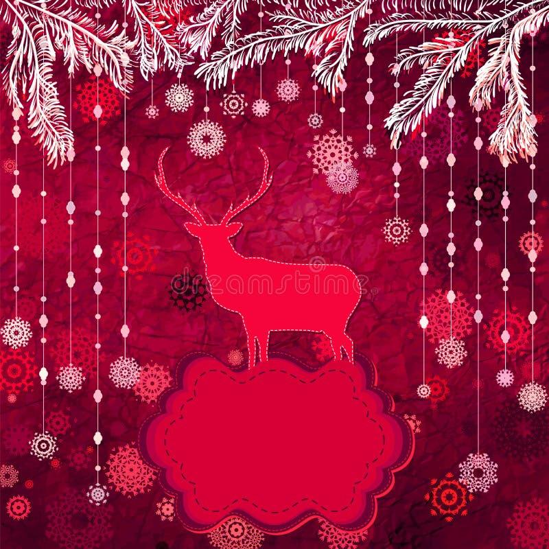 Carte de Noël de vintage de Santa Claus Deer. ENV 8 illustration libre de droits