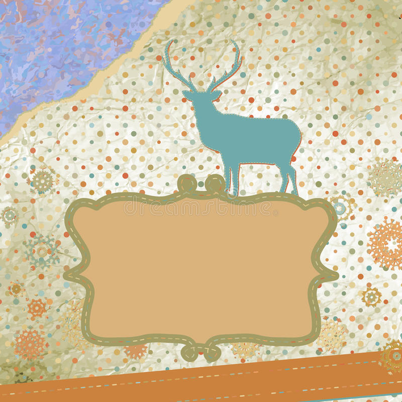 Carte de Noël de vintage de Santa Claus Deer. ENV 8 illustration de vecteur