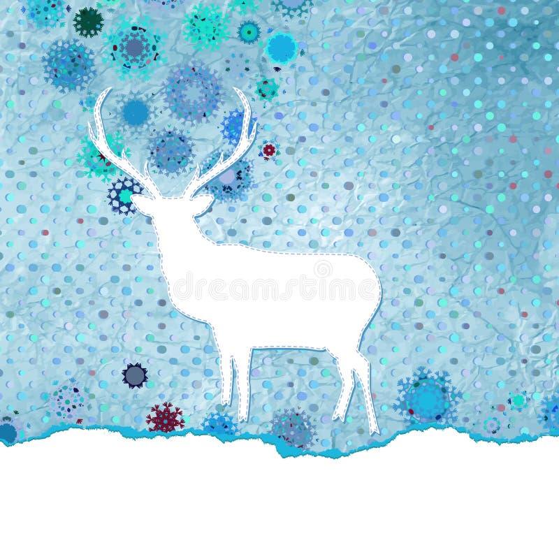 Carte de Noël de vintage de Santa Claus Deer. ENV 8 illustration stock