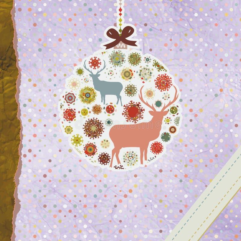 Carte de Noël de vintage de Santa Claus Deer ENV 8 illustration de vecteur