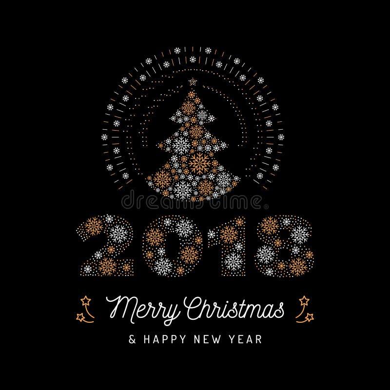 Carte de Noël et affiche 2018 de nouvelle année L'arbre de Noël et le numéro 2018 ont fait des flocons de neige Illustration de v illustration stock