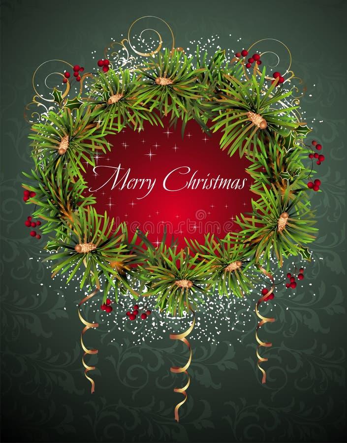 Carte de Noël et d'an neuf avec la guirlande illustration libre de droits