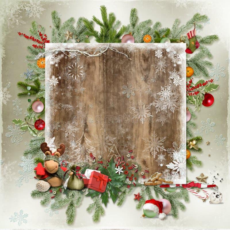 Carte de Noël et de nouvelle année illustration de vecteur