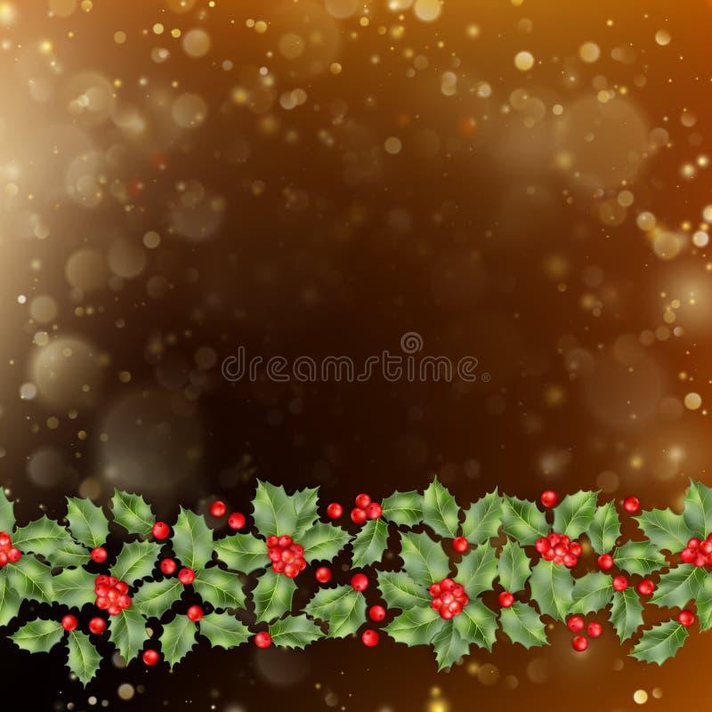 Carte de Noël et de nouvelle année avec des baies Vecteur d'ENV 10 illustration de vecteur