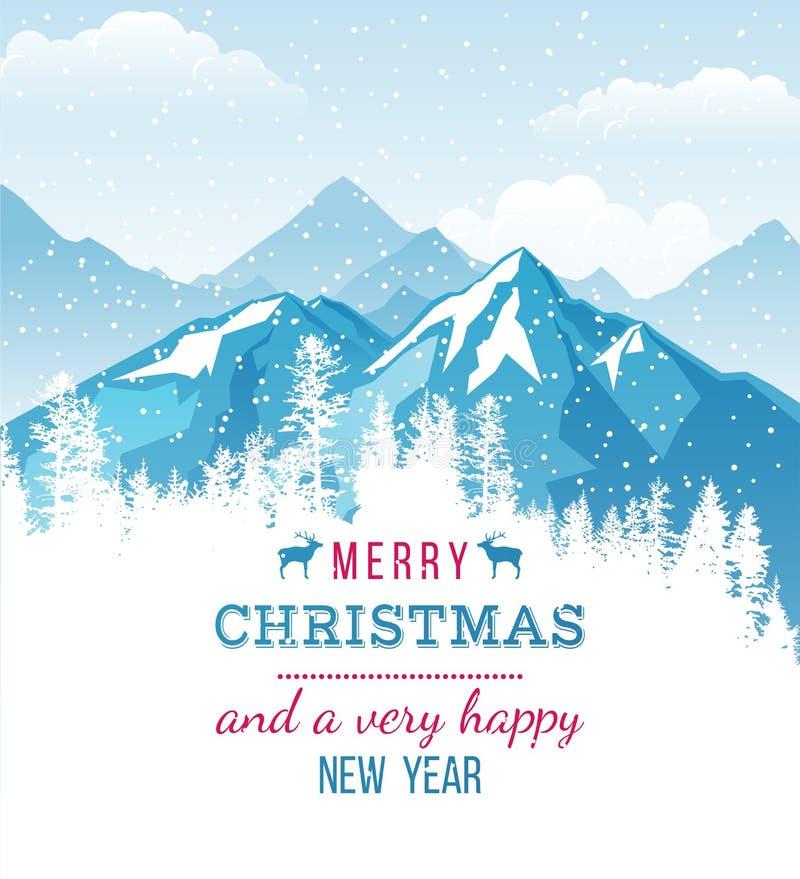 Carte de Noël et de nouvelle année avec le paysage illustration libre de droits