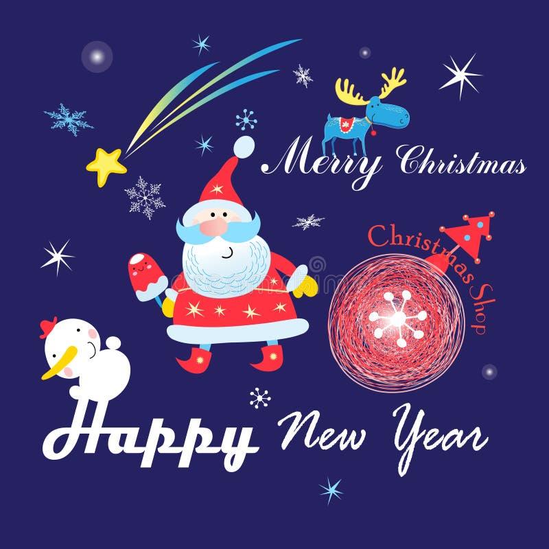 Carte de Noël de fête avec Santa Claus sur un fond foncé avec des flocons de neige images stock