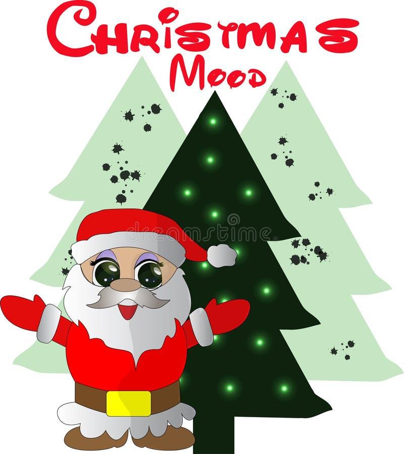 Carte de Noël gentille avec l'arbre de Santa Claus et de Noël illustration stock