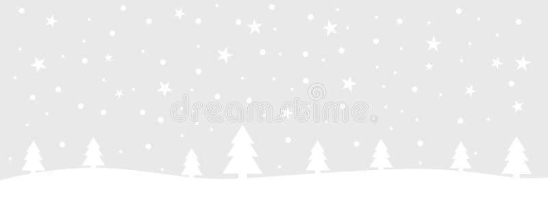 Carte de Noël gris-clair et blanc avec le paysage d'hiver illustration de vecteur